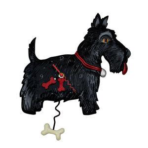 NWT Black Scottie Dog Pendulum Wall Clock